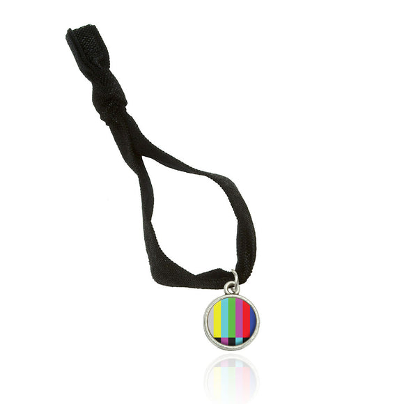 Test Television Color Bars Fold Over Stretchy Elastic Hair Tie w/ Charm