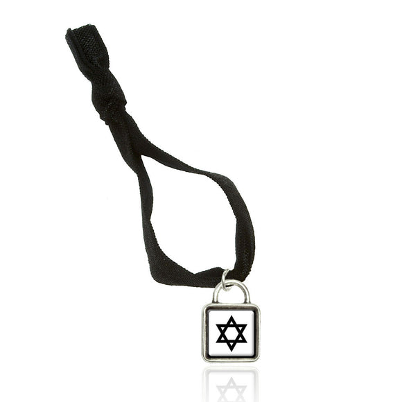Star of David Double Fold Over Stretchy Elastic No Crease Hair Tie w/ Sqr Charm
