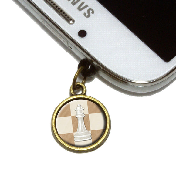 White Queen Chess Set Cell Mobile Phone Jack Charm Fits iPhone Galaxy HTC