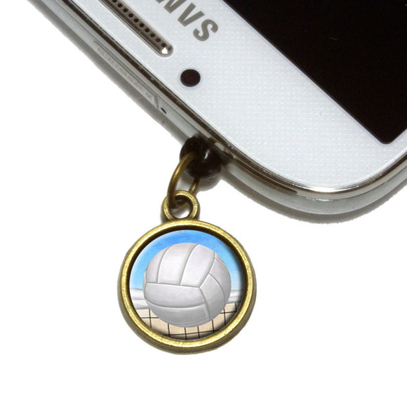 Sporty Volleyball Cell Mobile Phone Jack Charm Universal Fits iPhone Galaxy HTC
