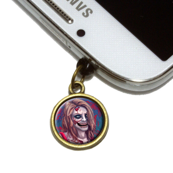 Zombified Girl Cell Mobile Phone Jack Charm Universal Fits iPhone Galaxy HTC