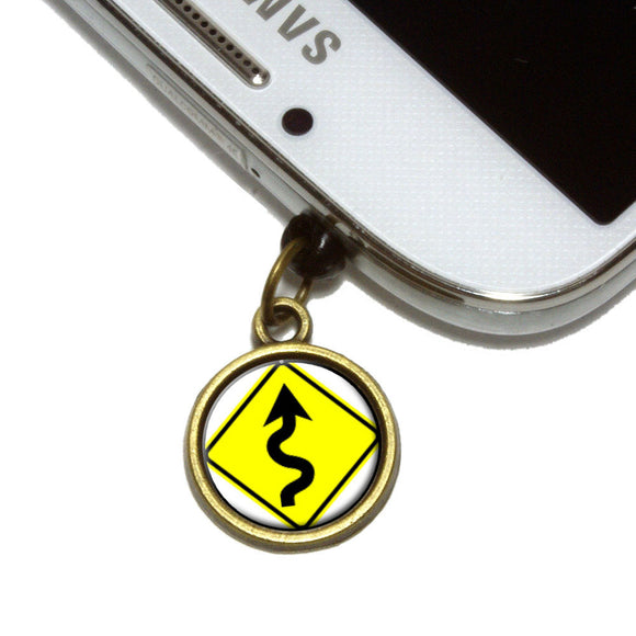 Winding Curvy Road Ahead Basic Yellow Sign Cell Mobile Phone Jack Charm
