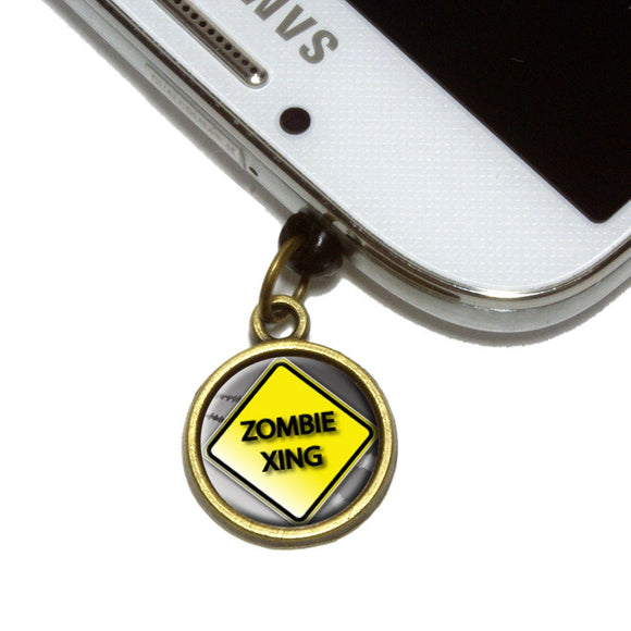 Zombie Xing Crossing Stylized Yellow Caution Sign Cell Mobile Phone Jack Charm