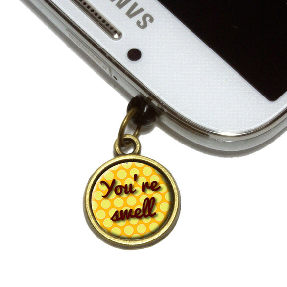 You're Swell Polka Dot Fun and Friends Cell Mobile Phone Jack Charm Fits iPhone