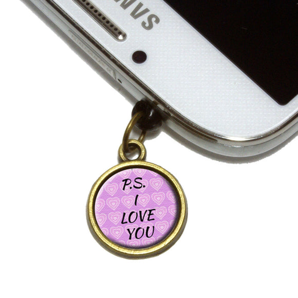 PS I Love You on Pink Hearts Pattern Cell Mobile Phone Jack Charm Fits iPhone