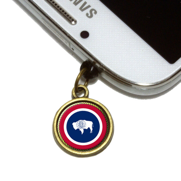 Wyoming State Flag Cell Mobile Phone Jack Charm Universal Fits iPhone Galaxy HTC