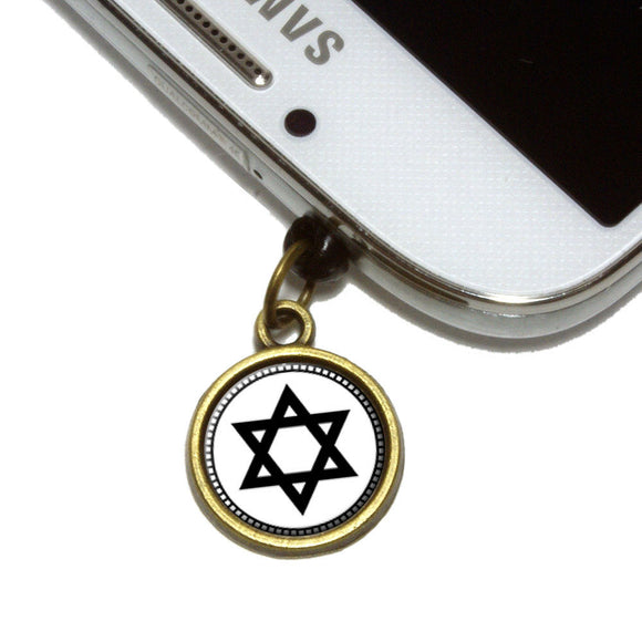 Star of David Cell Mobile Phone Jack Charm Universal Fits iPhone Galaxy HTC