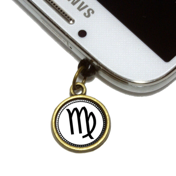 Zodiac Sign Virgo Cell Mobile Phone Jack Charm Universal Fits iPhone Galaxy HTC