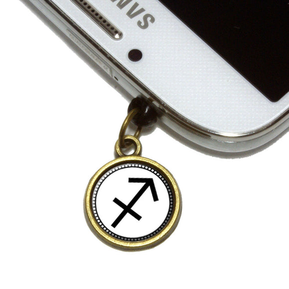 Zodiac Sign Sagittarius Cell Mobile Phone Jack Charm Fits iPhone Galaxy HTC