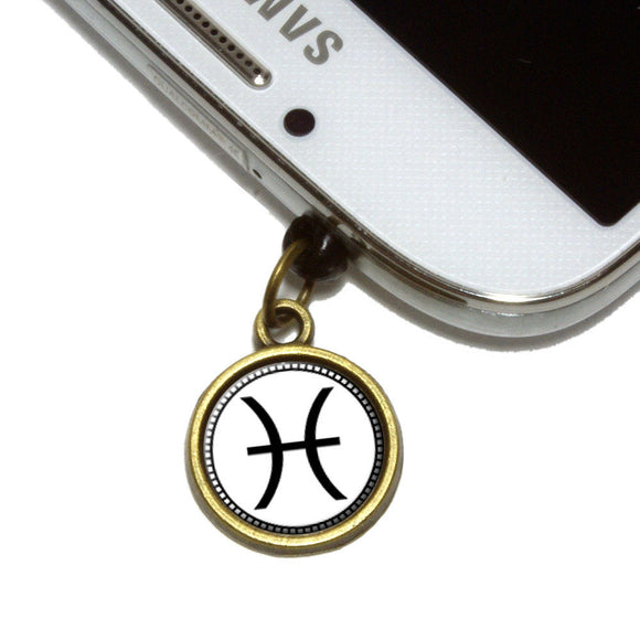 Zodiac Sign Pisces Cell Mobile Phone Jack Charm Universal Fits iPhone Galaxy HTC
