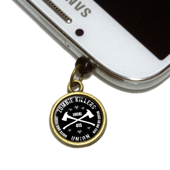 Zombie Killers Union Cell Mobile Phone Jack Charm Fits iPhone Galaxy HTC