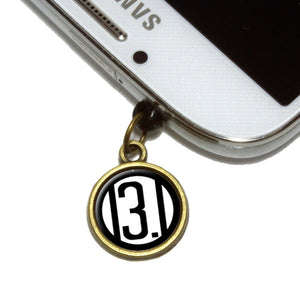 13.1 Miles Half Marathon Black Cell Mobile Phone Jack Charm Fits iPhone Galaxy