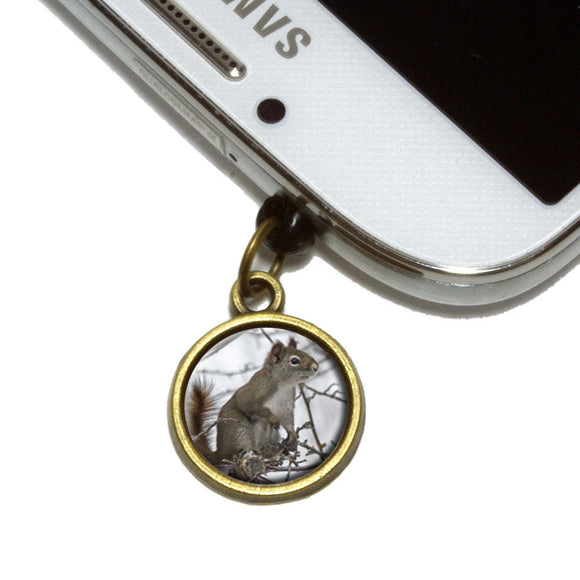 Winter Forest Tree Squirrel Cell Mobile Phone Jack Charm Fits iPhone Galaxy HTC