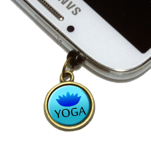 Yoga Lotus Flower Cell Mobile Phone Jack Charm Universal Fits iPhone Galaxy HTC