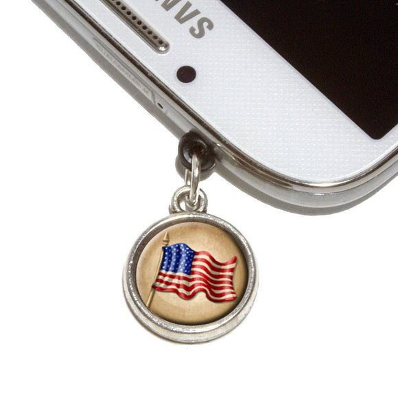 Vintage American Flag Mobile Phone Jack Charm Universal Fits iPhone Galaxy HTC