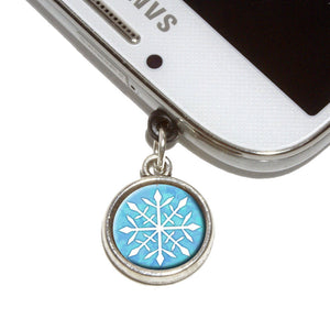 Snowflake Mobile Phone Jack Charm Universal Fits iPhone Galaxy HTC