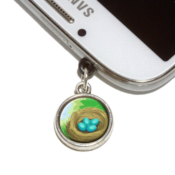 Robin's Nest with Eggs Mobile Phone Jack Charm Universal Fits iPhone Galaxy HTC