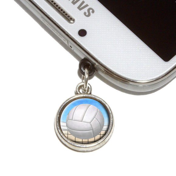 Sporty Volleyball Mobile Phone Jack Charm Universal Fits iPhone Galaxy HTC