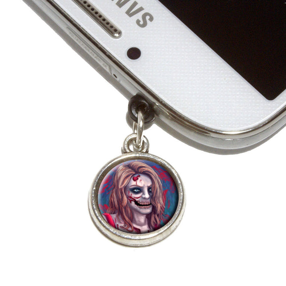 Zombified Girl Mobile Phone Jack Charm Universal Fits iPhone Galaxy HTC
