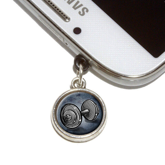 Weight Lifting Dumbbells Mobile Phone Jack Charm Fits iPhone Galaxy HTC