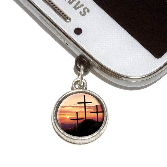 Three Crosses on Hill Mobile Phone Jack Charm Universal Fits iPhone Galaxy HTC