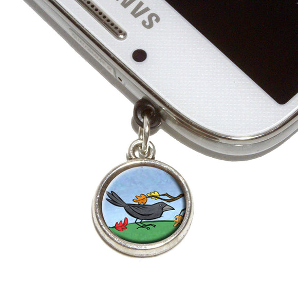 Crow in Autumn Mobile Phone Jack Charm Universal Fits iPhone Galaxy HTC