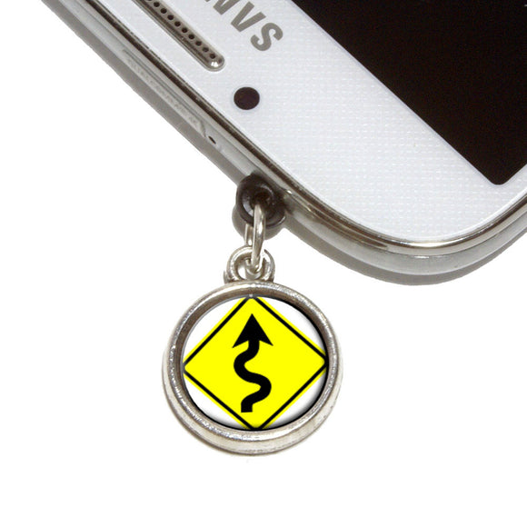 Winding Curvy Road Ahead Basic Yellow Sign Mobile Phone Jack Charm Fits iPhone
