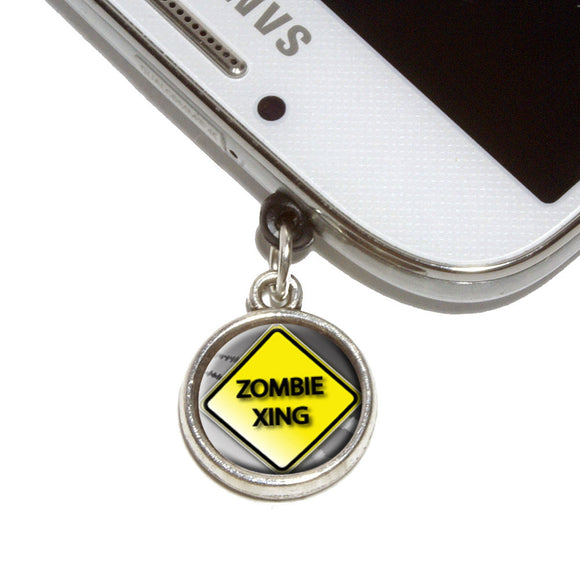 Zombie Xing Crossing Stylized Yellow Grey Caution Sign Mobile Phone Jack Charm