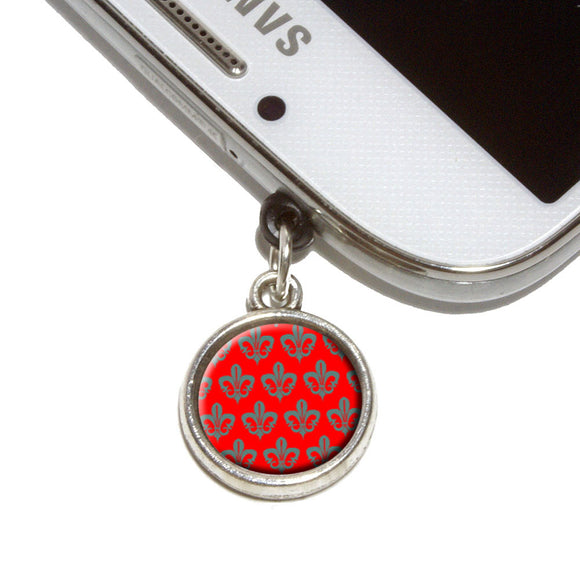 Fleur de lis Pattern Grey on Red Mobile Phone Jack Charm Fits iPhone Galaxy HTC