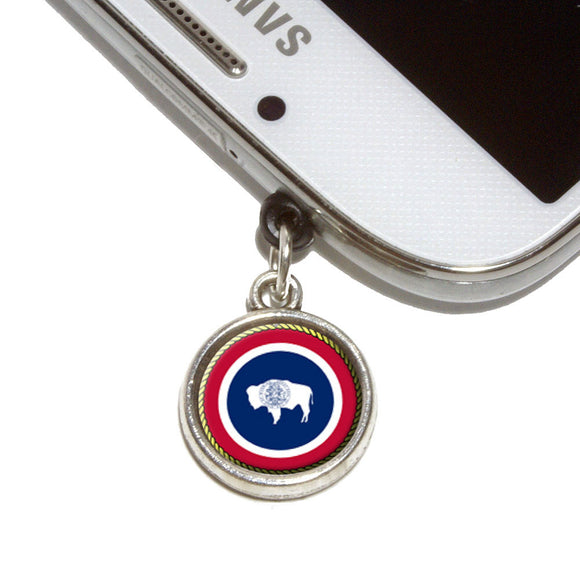 Wyoming State Flag Mobile Phone Jack Charm Universal Fits iPhone Galaxy HTC