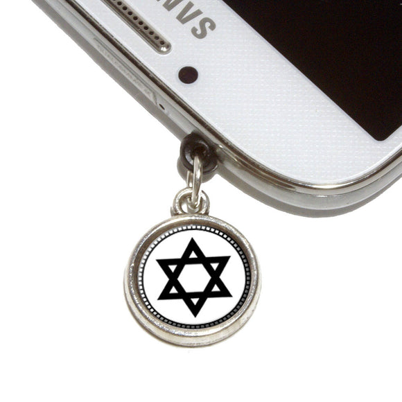 Star of David Mobile Phone Jack Charm Universal Fits iPhone Galaxy HTC