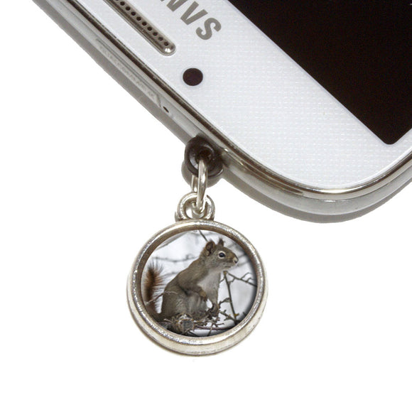 Winter Forest Tree Squirrel Mobile Phone Jack Charm Fits iPhone Galaxy HTC