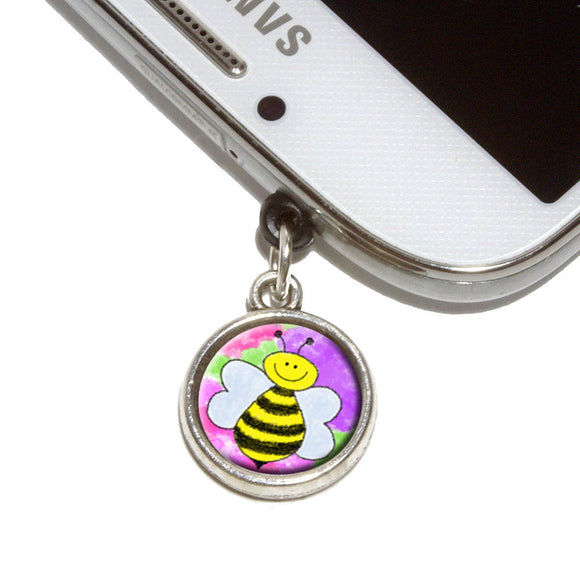 Busy As A Bee Watercolor Mobile Phone Jack Charm Fits iPhone Galaxy HTC