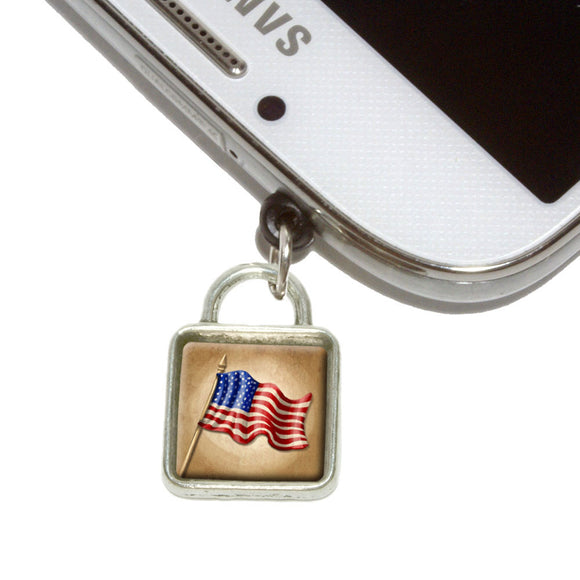 Vintage American Flag Mobile Phone Jack Square Charm Fits iPhone Galaxy HTC