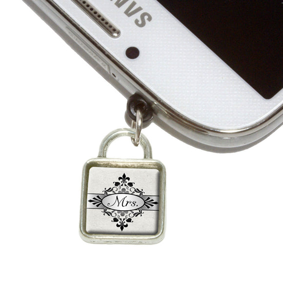 Mrs on Floral Pattern Bride Woman Hers Wife Mobile Phone Jack Square Charm