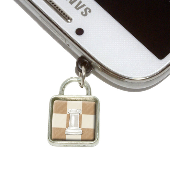 White Rook Chess Set Mobile Phone Jack Square Charm Fits iPhone Galaxy HTC