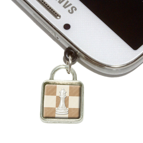 White Queen Chess Set Mobile Phone Jack Square Charm Fits iPhone Galaxy HTC
