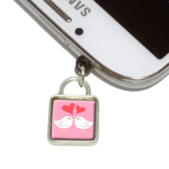 Sweet Kissing Birds in Love Pink Mobile Phone Jack Square Charm Fits iPhone