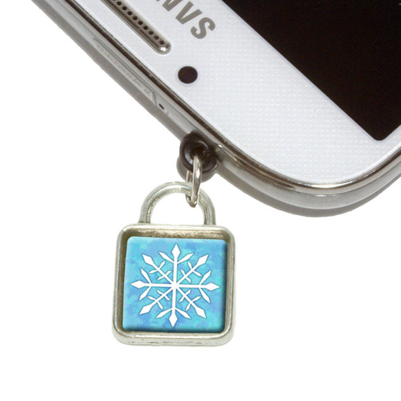 Snowflake Mobile Phone Jack Square Charm Universal Fits iPhone Galaxy HTC
