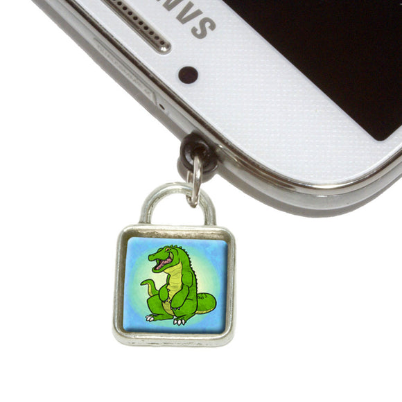 Happy Alligator Mobile Phone Jack Square Charm Universal Fits iPhone Galaxy HTC