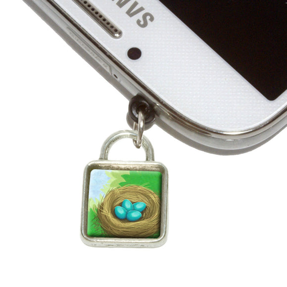 Robin's Nest with Eggs Mobile Phone Jack Square Charm Fits iPhone Galaxy HTC