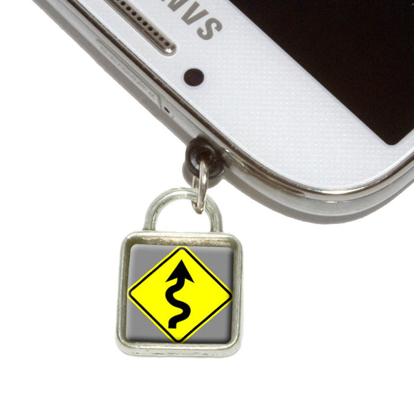 Winding Curvy Road Ahead Basic Yellow Sign Mobile Phone Jack Square Charm