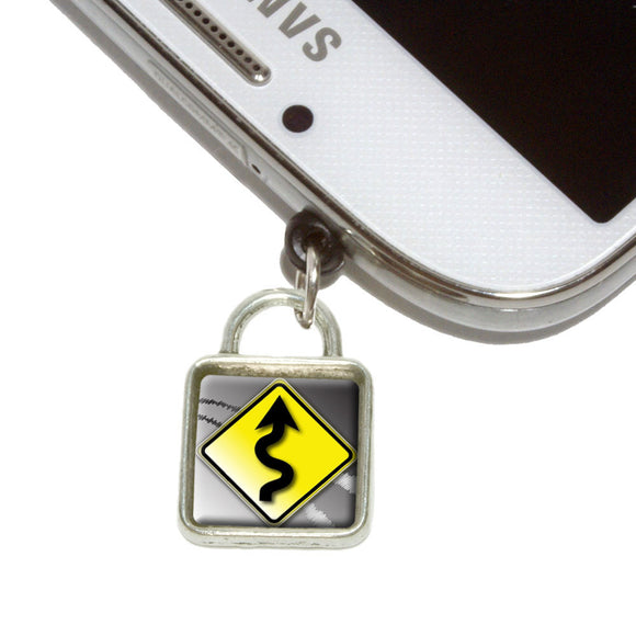 Winding Curvy Road Ahead Stylized Yellow Sign Mobile Phone Jack Square Charm