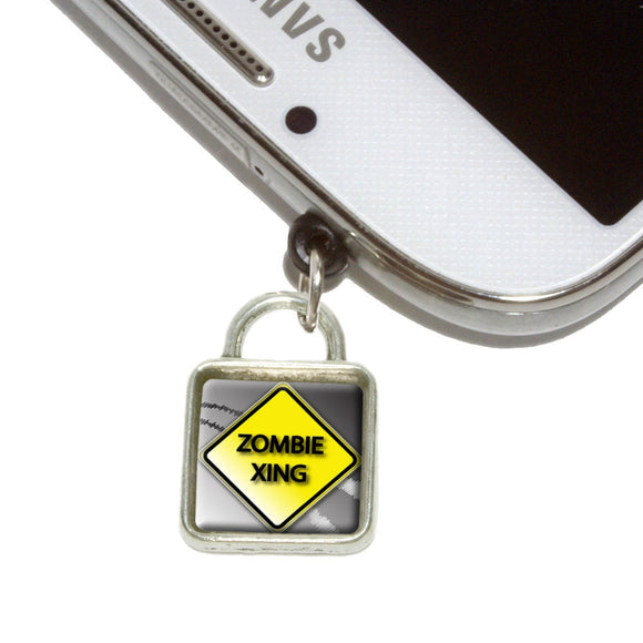 Zombie Xing Crossing Stylized Yellow Caution Sign Mobile Phone Jack Square Charm
