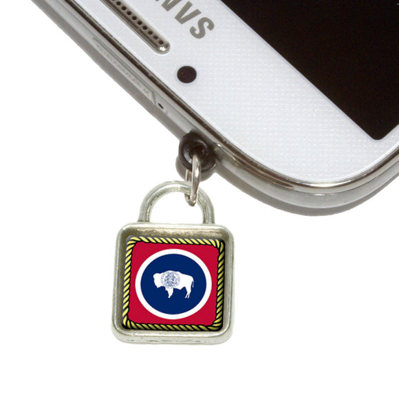 Wyoming State Flag Mobile Phone Jack Square Charm Fits iPhone Galaxy HTC