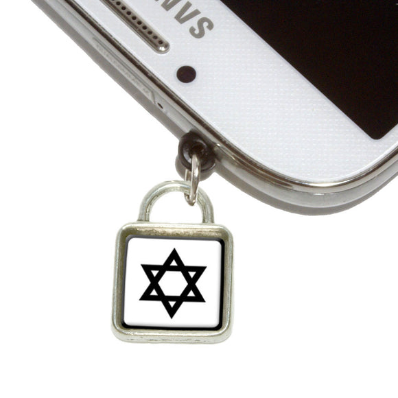 Star of David Mobile Phone Jack Square Charm Universal Fits iPhone Galaxy HTC