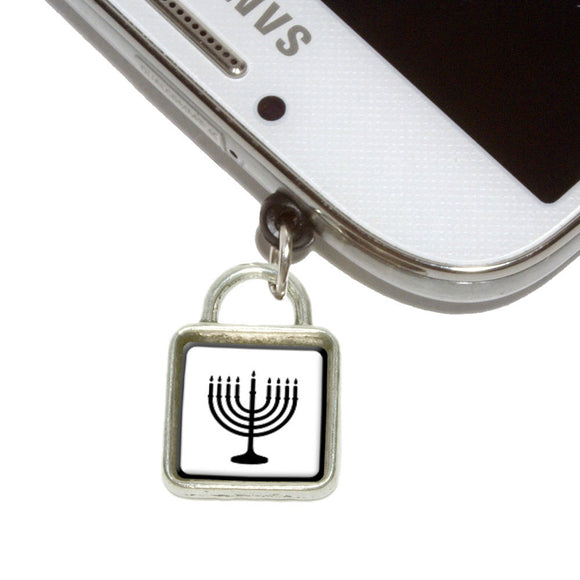 Menorah Mobile Phone Jack Square Charm Universal Fits iPhone Galaxy HTC