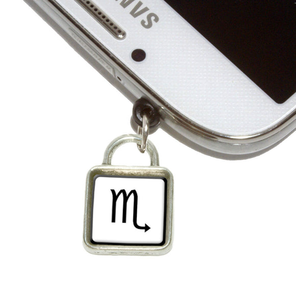 Zodiac Sign Scorpio Mobile Phone Jack Square Charm Fits iPhone Galaxy HTC