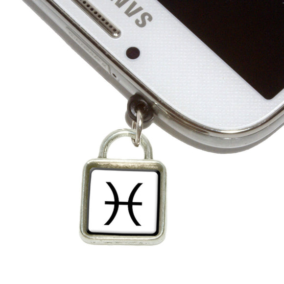 Zodiac Sign Pisces Mobile Phone Jack Square Charm Fits iPhone Galaxy HTC