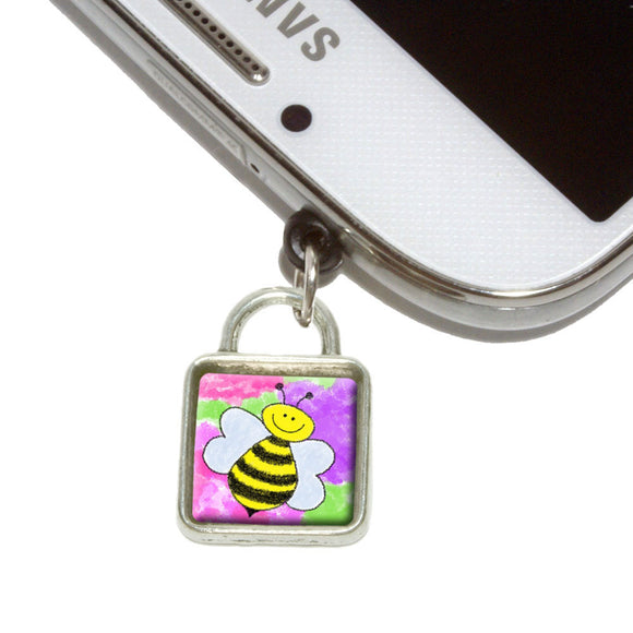 Busy As A Bee Watercolor Mobile Phone Jack Square Charm Fits iPhone Galaxy HTC